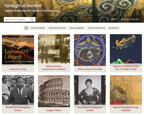 Image shows the landing homepage for Exhibits at Stanford