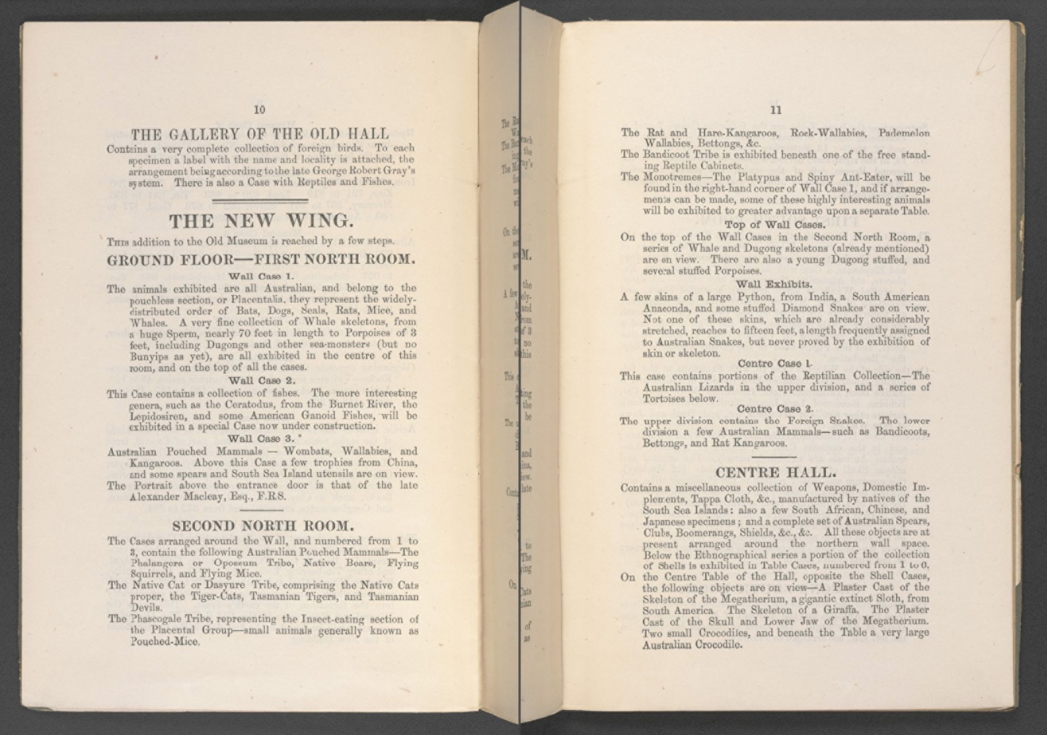 Selected opening from the early visitors guide to the Australian Museum
