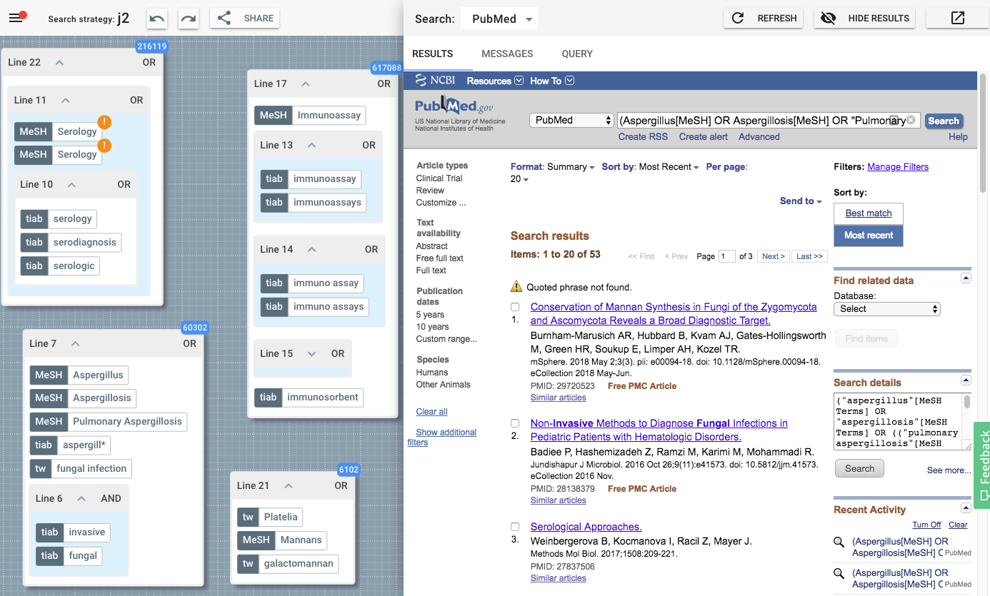 Figure 3.: The 2Dsearch application showing the query canvas (left) and the results pane (right).