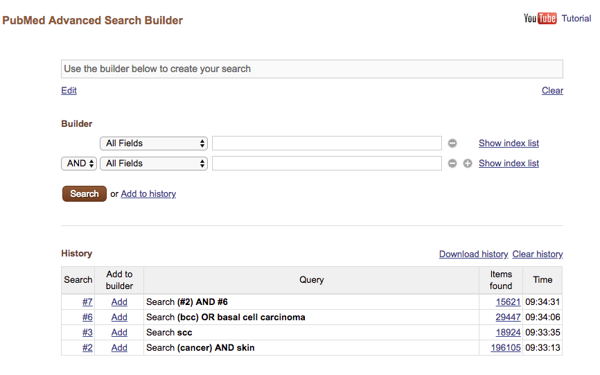 Figure 1.: A traditional form-based query builder (PubMed).