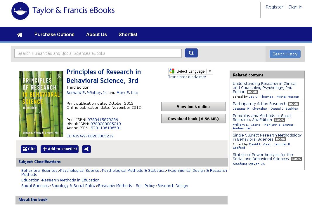 Figure 3.: Taylor & Francis e-book landing page.