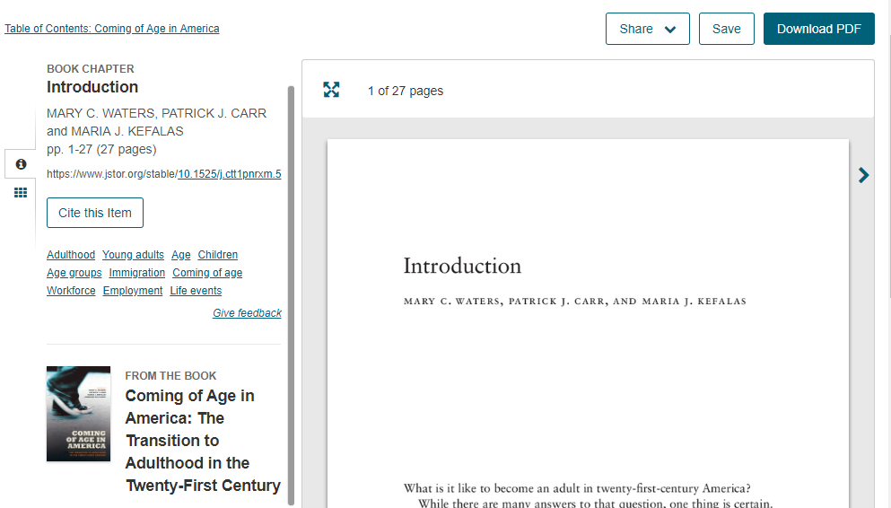 Figure 4.: JSTOR e-book landing page.