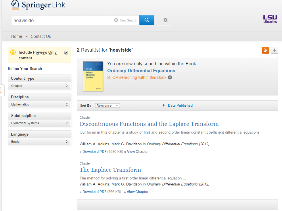 Figure 1.: Springer search results screen.