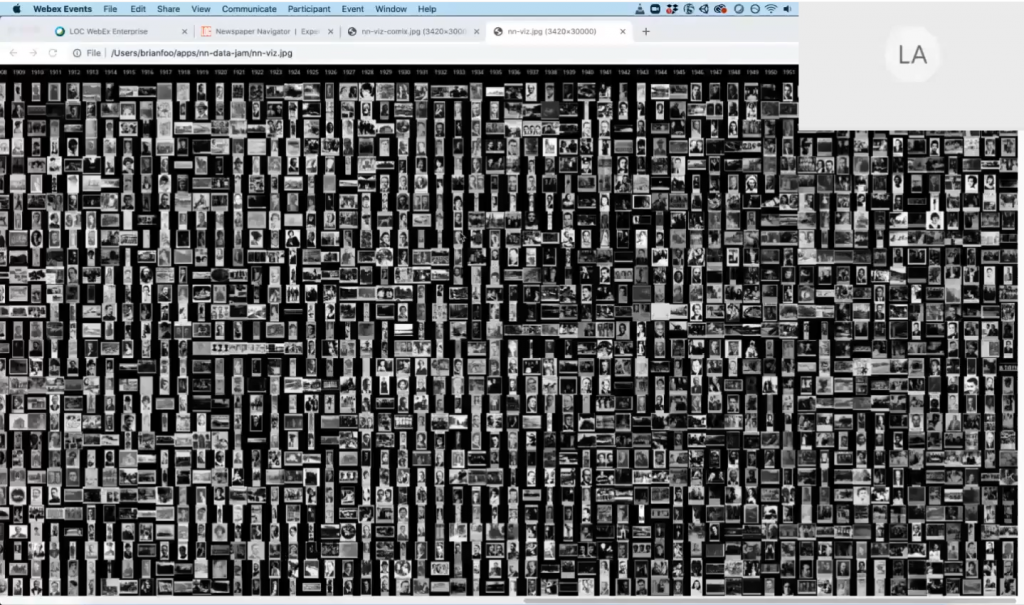 A collection of images created by Newspaper Navigator data jam participant Brian Foo