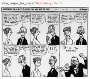 """A """"D--n the Kaiser"""" cartoon from a collection assembled by data jam participant Jeremy Guillette using Newspaper Navigator"""