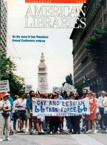 """The 1992 July/August issue of <em></noscript>American Libraries.</em>"""" width=""""159″ height=""""210″></p> <p></noscript><img   alt="""