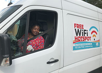 Eletha Davis, mobile library services outreach manager at Williamsburg (Va.) Regional Library, drives a van that provides Wi-Fi to the community.