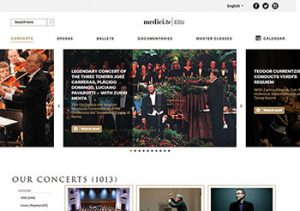 Medici.tv provides access to live and recorded music, dance, and theater performances.
