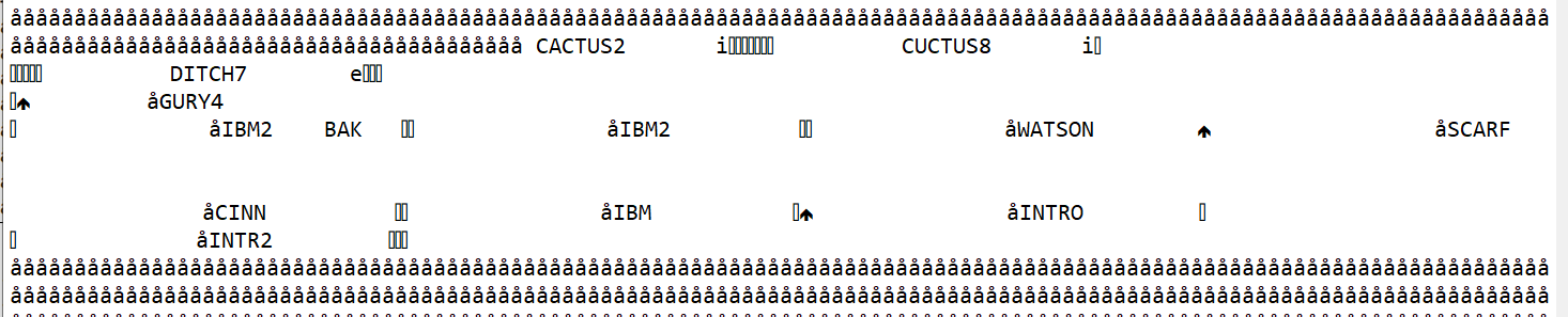 Screen capture of several lines of å å å å, followed by text, irregular spacing, symbols that appear to be a file list.