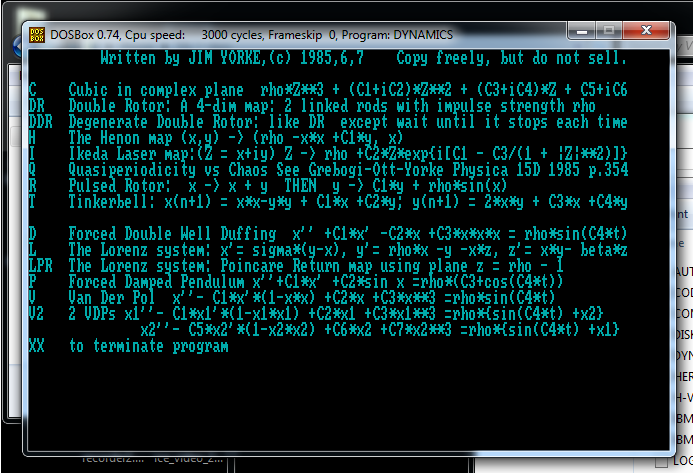Screen capture of James A. Yorke's data visualization software. Opening menu of software shows teal-colored text on a black background. The text is a list options with letters to select, followed by a description of the option selected.