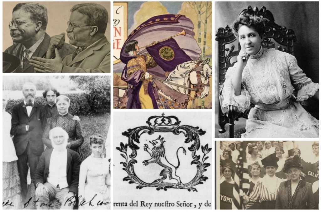 Campaign images from the By the People website. Pictured are Teddy Roosevelt, a march announcement from the National American Women's Suffrage Association, Mary Church Terrell, the Blackwell Family, a woodblock print of a lion from the Herencia campaign, and women participating a suffrage march.