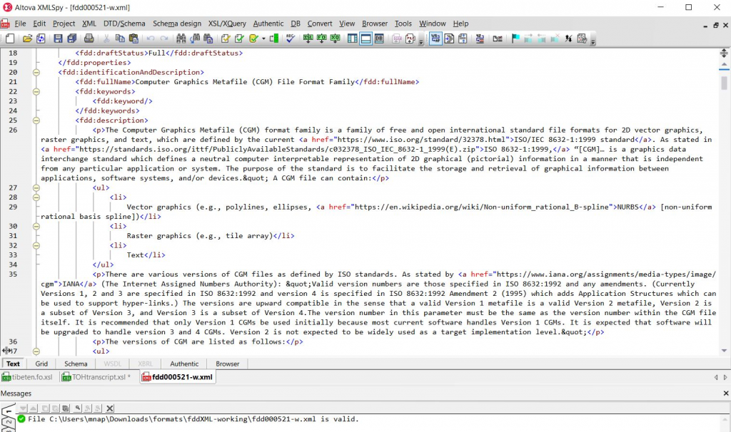 """Screenshot of raw XML formatting in an XML editor. This is the tool used to """"write"""" the FDD and ensure that formatting for text and added links are appropriate before publishing."""