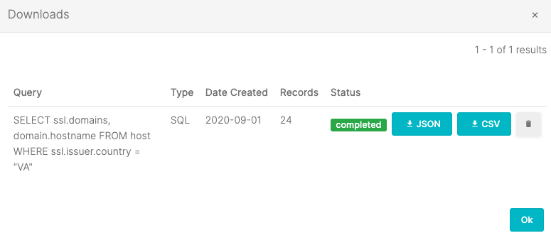 Downloading query results