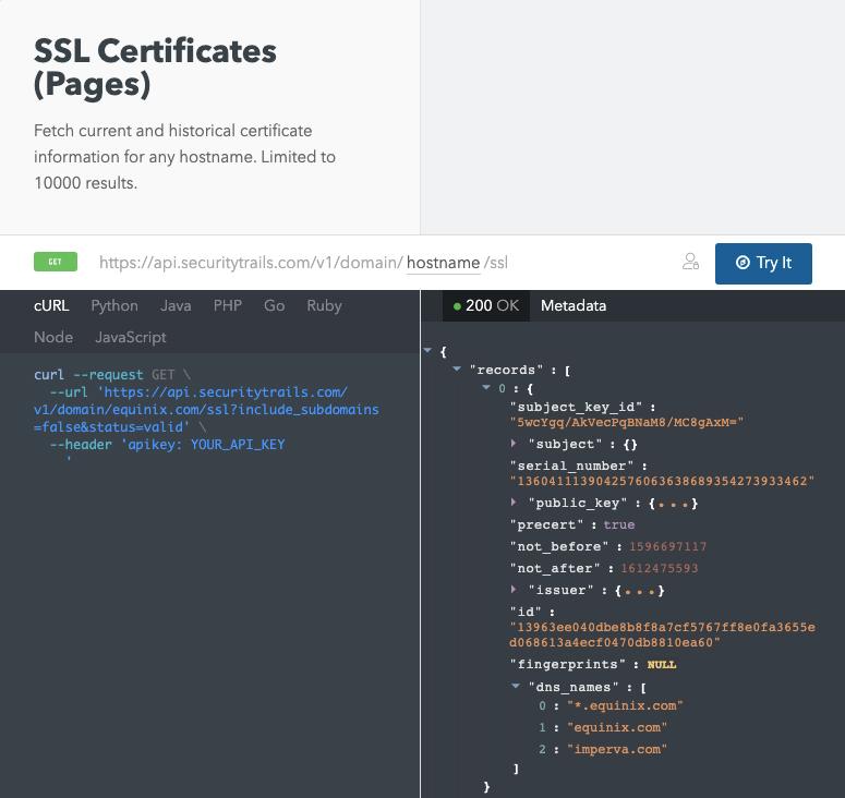 SSL certificates pages