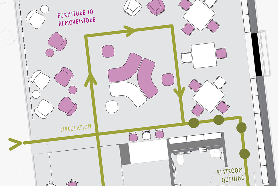 A floor plan for furniture removal at Hennepin County (Minn.) Library's Eden Prairie branch. Illustration: MSR Design