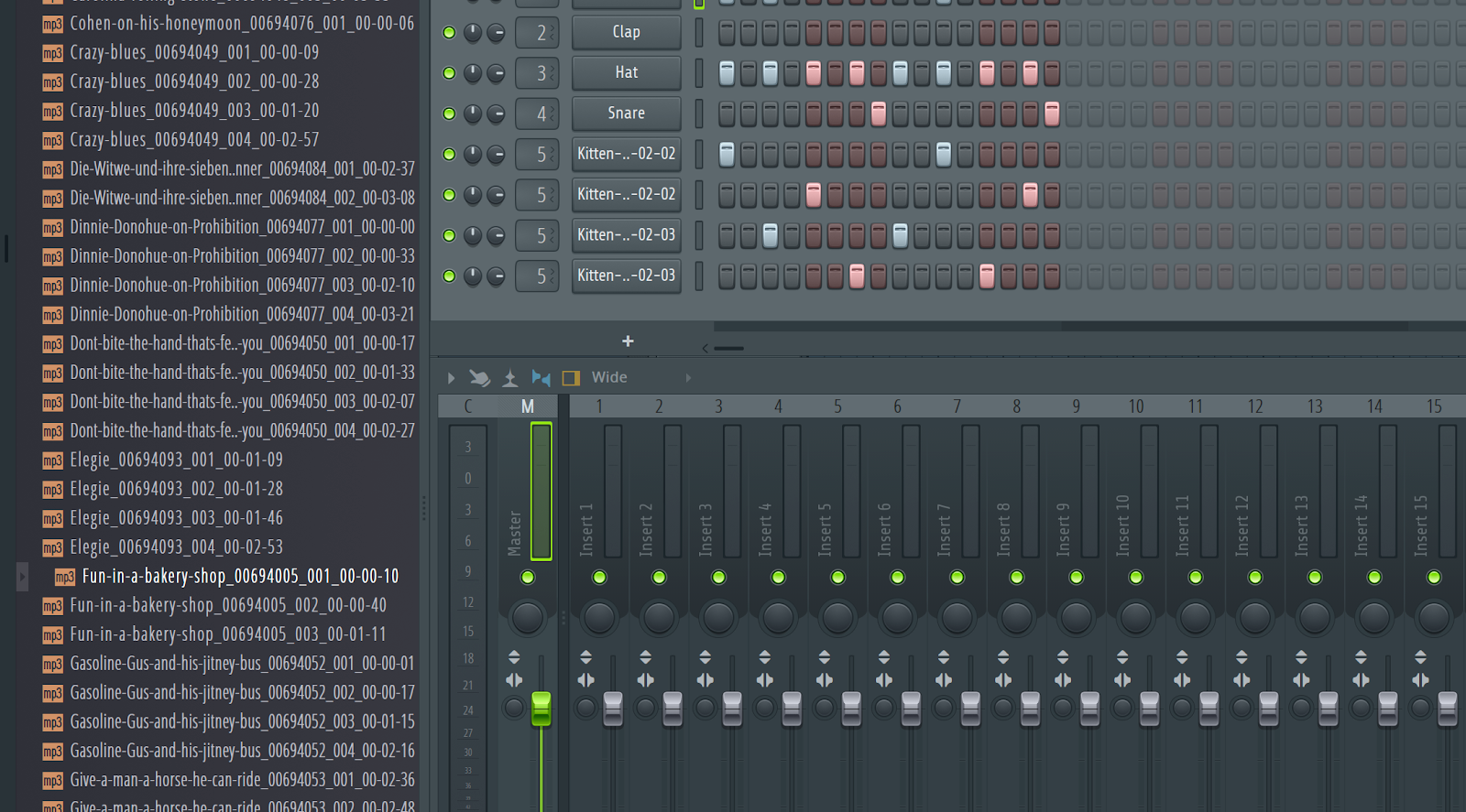 A three-panel user interface with a file browser, a pattern editor, and mixer