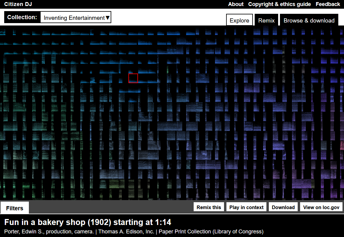 A grid of hundreds of audio clips represented by colored spectral data