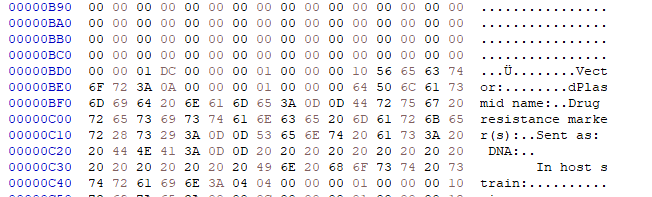Screen capture of a hex editor tool with numbers running across the top in columns and down the side in rows. Numbers are organized in clusters of two. On the far right-hand side, is a column. After multiple blank rows, the word Vector is discernable.