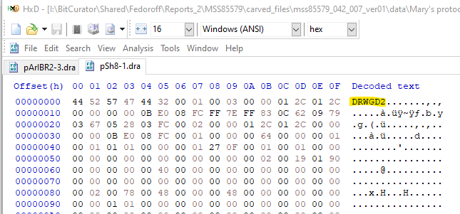 Screen capture of a hex editor tool with numbers running across the top in columns and down the side in rows. Numbers are organized in clusters of two. On the far right-hand side, is a column titled Decoded text and directly beneath it are the letters DRWGD2 highlighted in yellow.