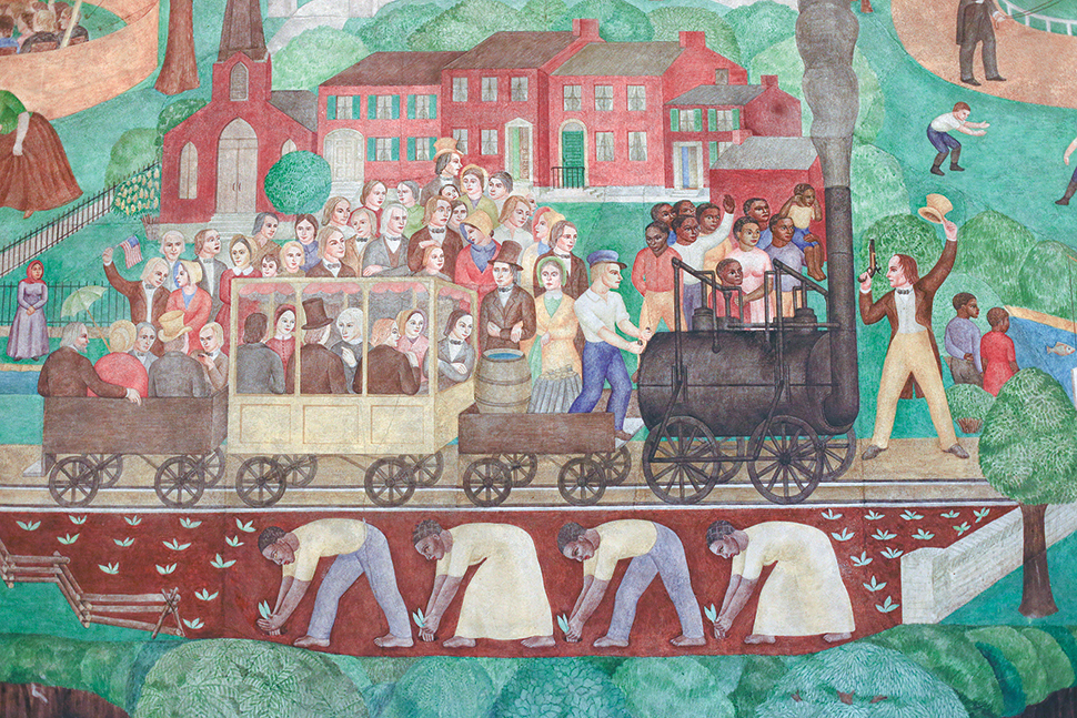 University of Kentucky in Lexington is attempting to remove a 1934 mural by artist Ann Rice O'Hanlon (detail shown here). Photo: Mark Cornelison