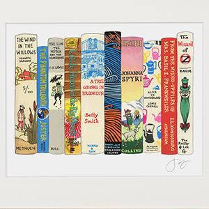 Hand-painted bookshelf print