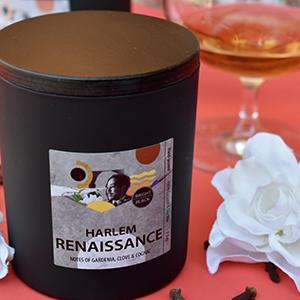 Black matte candle jar with Harlem Renaissance label
