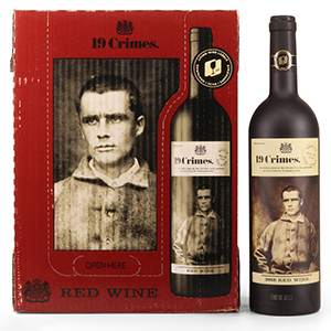 Bottle of 19 Crimes wine with book