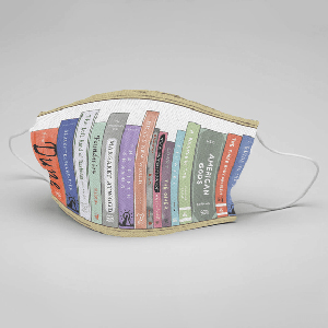 Fabric face mask with sci-fi classics printed on it