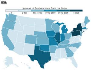 Map showing number of Sanborn Maps from each state.