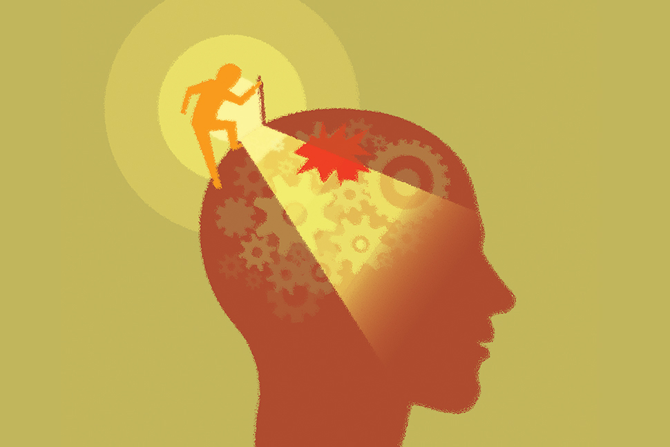 Illustration: Figure shines light into the larger head of another figure (Illustration: ©Feodora/Adobe Stock)