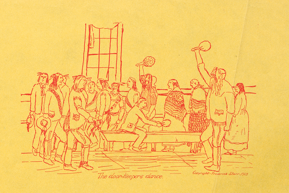 A drawing of Iroquois games and dances by Jesse Cornplanter resides in Amherst (Mass.) College's collection of Indigenous materials.