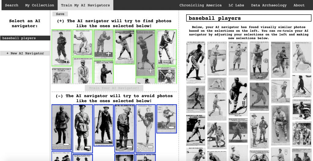 A screenshot of a web application showing images of baseball players from historic newspapers. The top is a selection of photos that closely resemble baseball players. The bottom displays images of false negatives, images that are not of baseball players.