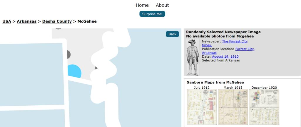 Screenshot of Sanborn Maps Navigator