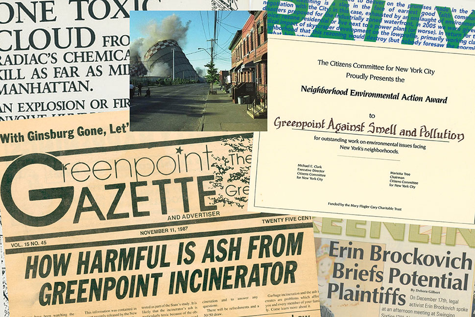 Items from the Greenpoint collection, including a newspaper, a photo of an implosion of natural gas storage tanks, and an award presented to Greenpoint Against Smell and Pollution. (Photos: Brooklyn (N.Y.) Public Library, Brooklyn Collection)