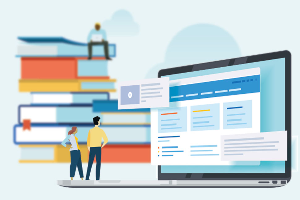 Illustration of people, stacked books, and a computer monitor. (Illustration: ©PureSolution/Adobe Stock)