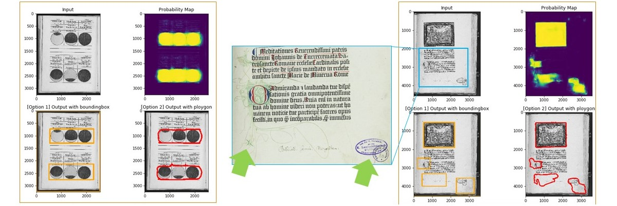 screenshot of eight scanned manuscript pages. visual content is identified on the page with yellow and red markings.