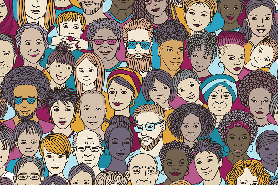 Illustration of dozens of diverse faces (Illustration: Franzi Draws)