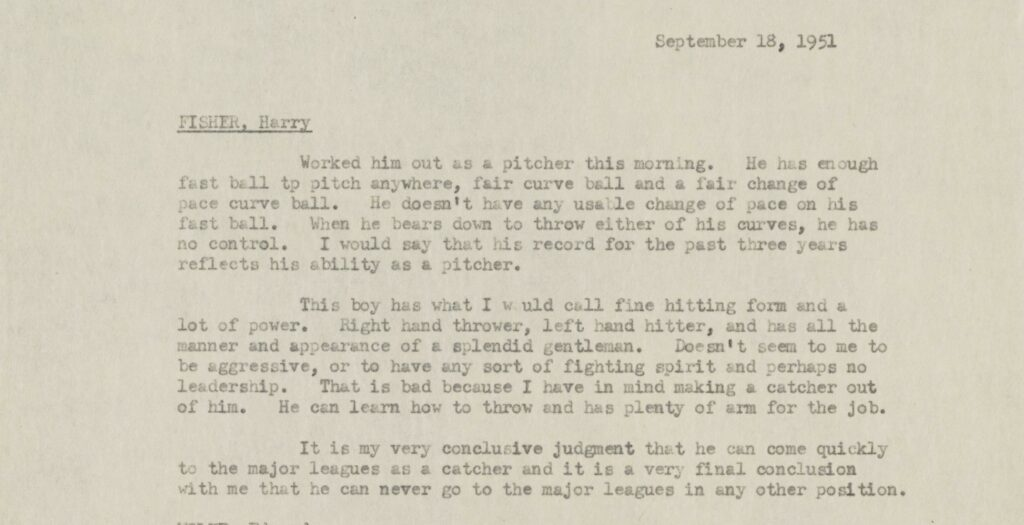 Rickey's scouting report for Henry Fisher from September 18, 1951.