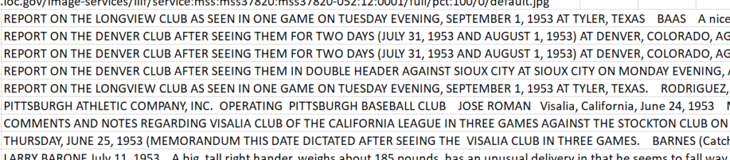 Close-up of Rickey dataset showing instances where the Report title preceeds the date and where Rickey inserted the day of the week into the date.