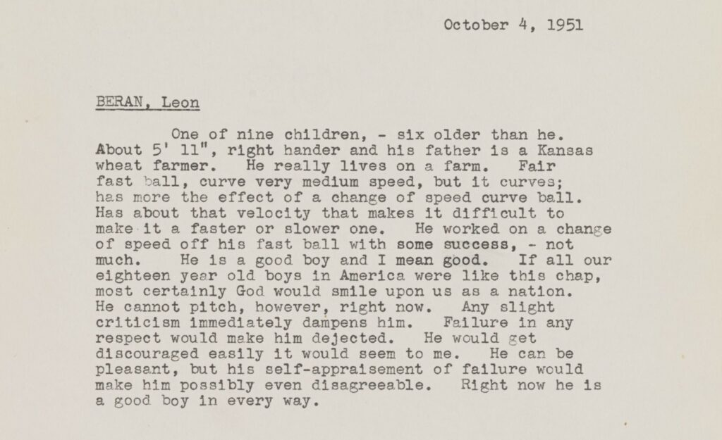 Rickey's scouting report for Leon Beran dated October 4, 1951.