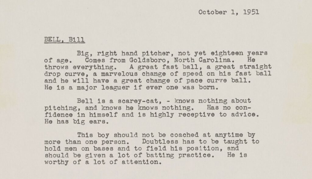 Rickey's report for Bill Bell dated October 1, 1951.