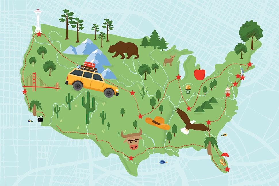 The reader's road trip. Illustration by Rebecca Lomax/American Libraries and Anastasia Krasavina/Adobe Stock
