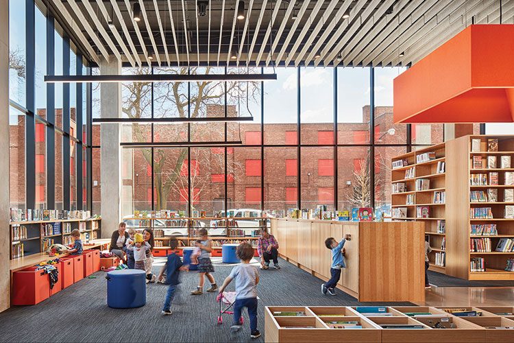 Chicago Public Library's Little Italy branch and Chicago Housing Authority's Taylor Street Apartments Architect: Skidmore, Owings, and Merrill Photo: Tom Harris