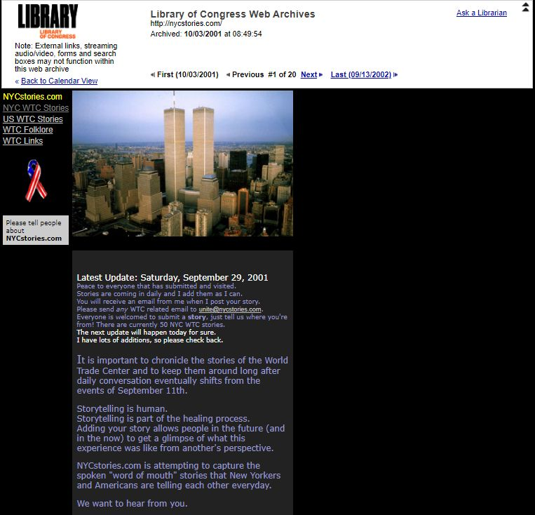 The website NYCStories.com collected the memories and reactions of ordinary people to the events of September 11, 2001.