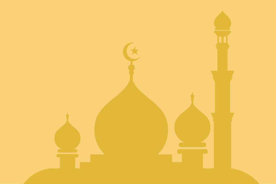 Silhouette of mosque on gold background (Illustration: green2/AdobeStock)